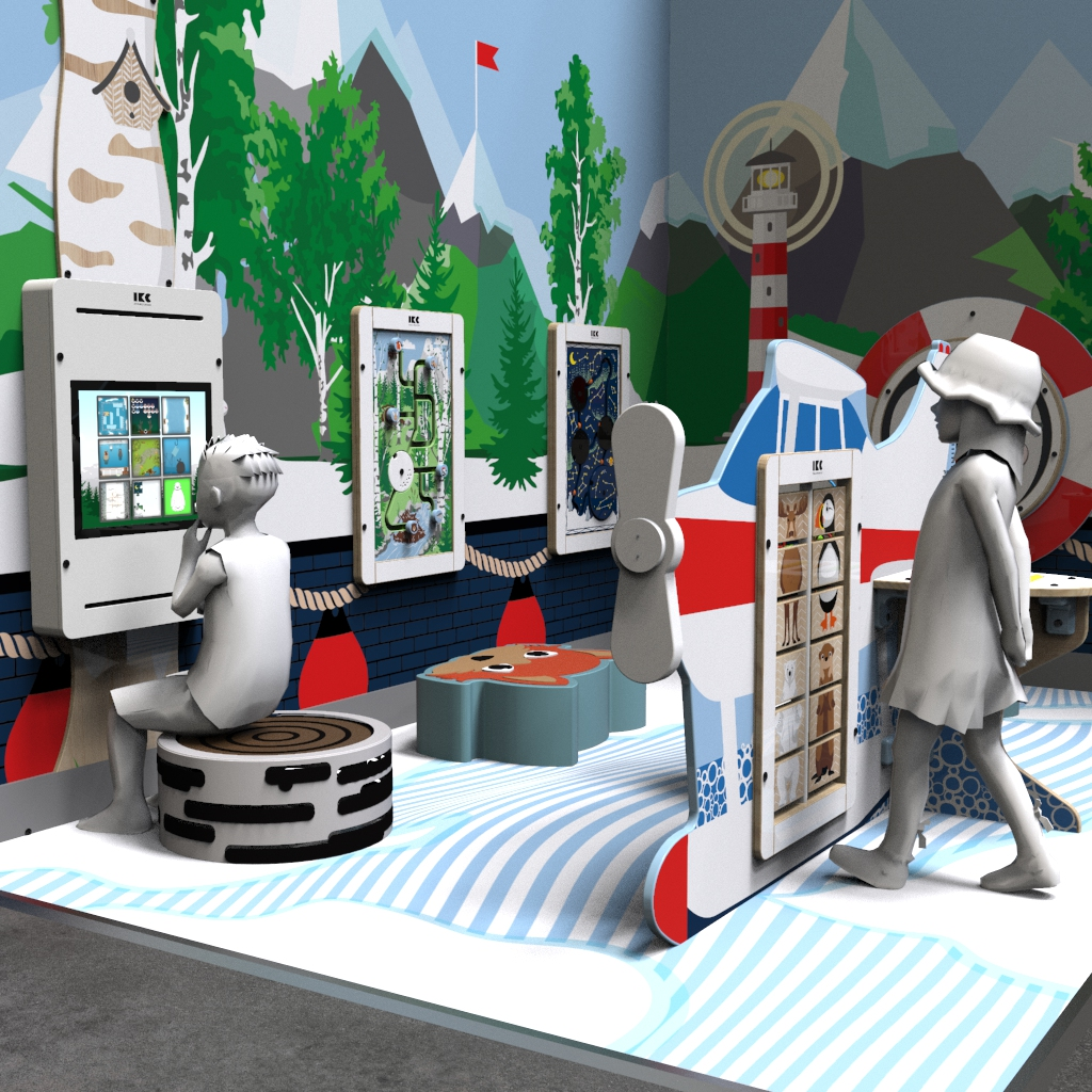 this image shows the arctic kids corner in M with wall games