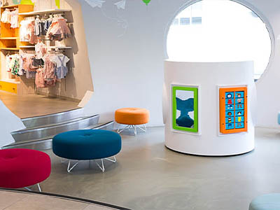 this image shows a kids corner with wall games in H&M