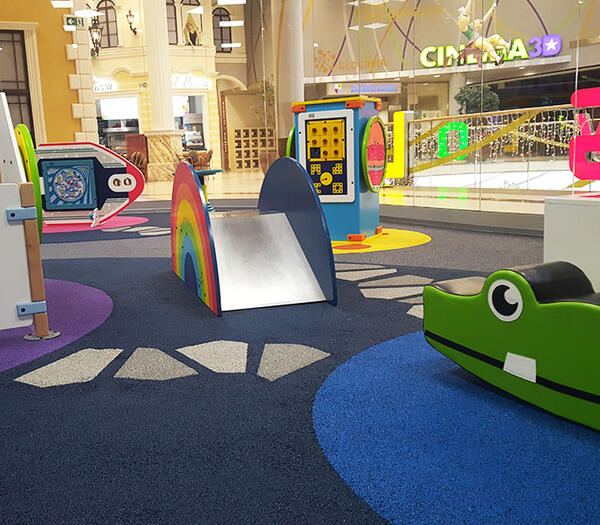 This image shows a custom kids corner in a shopping center