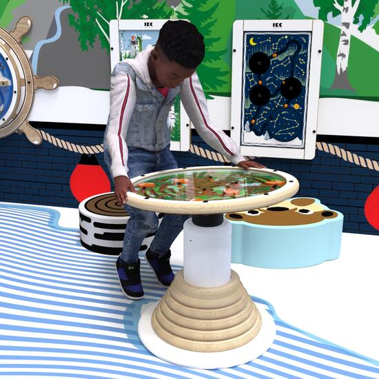 This image shows a play system swinging top maze