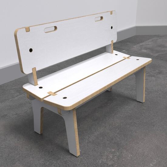 Op deze afbeelding ziet u de Buxus Bench high white uit de kindermeubel collectie Buxus