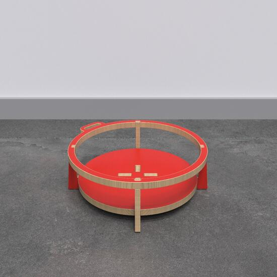 Op deze afbeelding ziet u de Buxus Softplay stool red uit de kindermeubel collectie Buxus