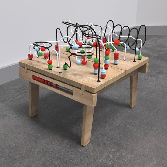 Op deze afbeelding ziet u de Buxus Table wirebeads wood uit de kindermeubel collectie Buxus