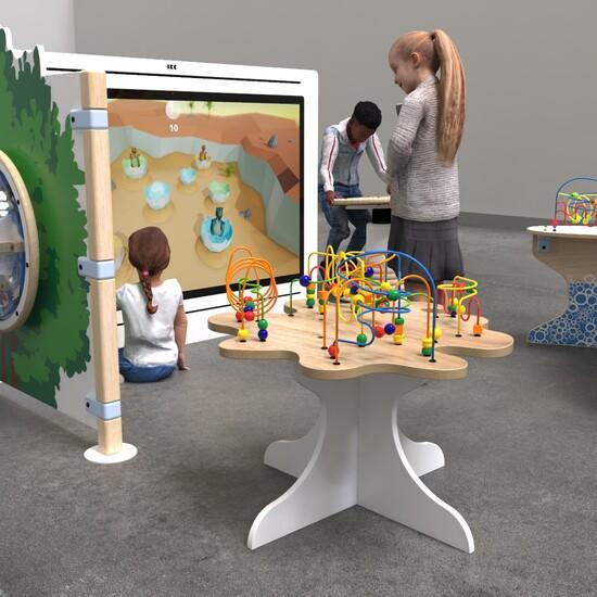overzicht van een interactieve kinderhoek inrichting