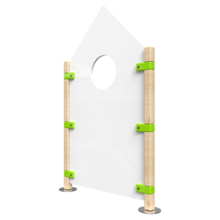 Hekwerk in de vorm van een huis voor kinderhoek | IKC Hekwerken