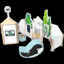 Complete speelhoek voor kinderen met interactieve speelsystemen en een kralen tafel